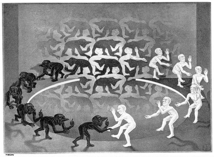 Encounter, 1944 - M.C. Escher