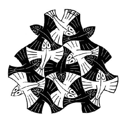 Afbeeldingen Vogels Kleurplaten 7 Black And 6 White Fishes 1954 M C Escher Wikiart Org