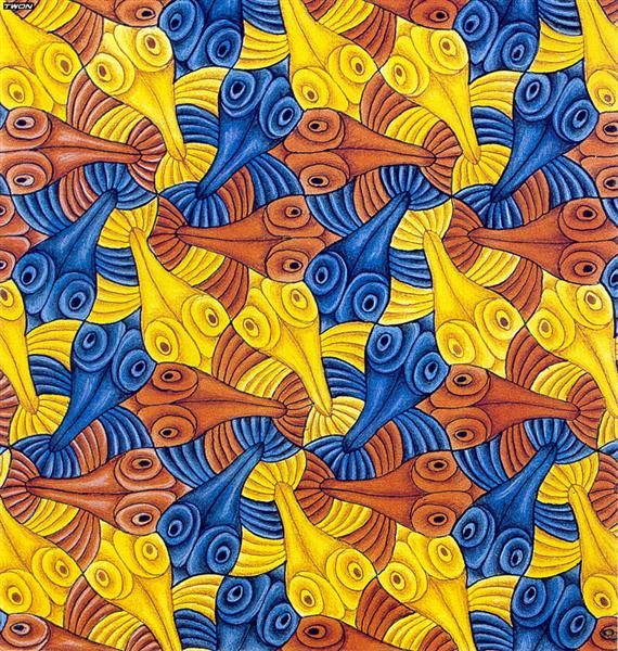 Symmetry Watercolor 55 Fish, 1942 - M.C. Escher