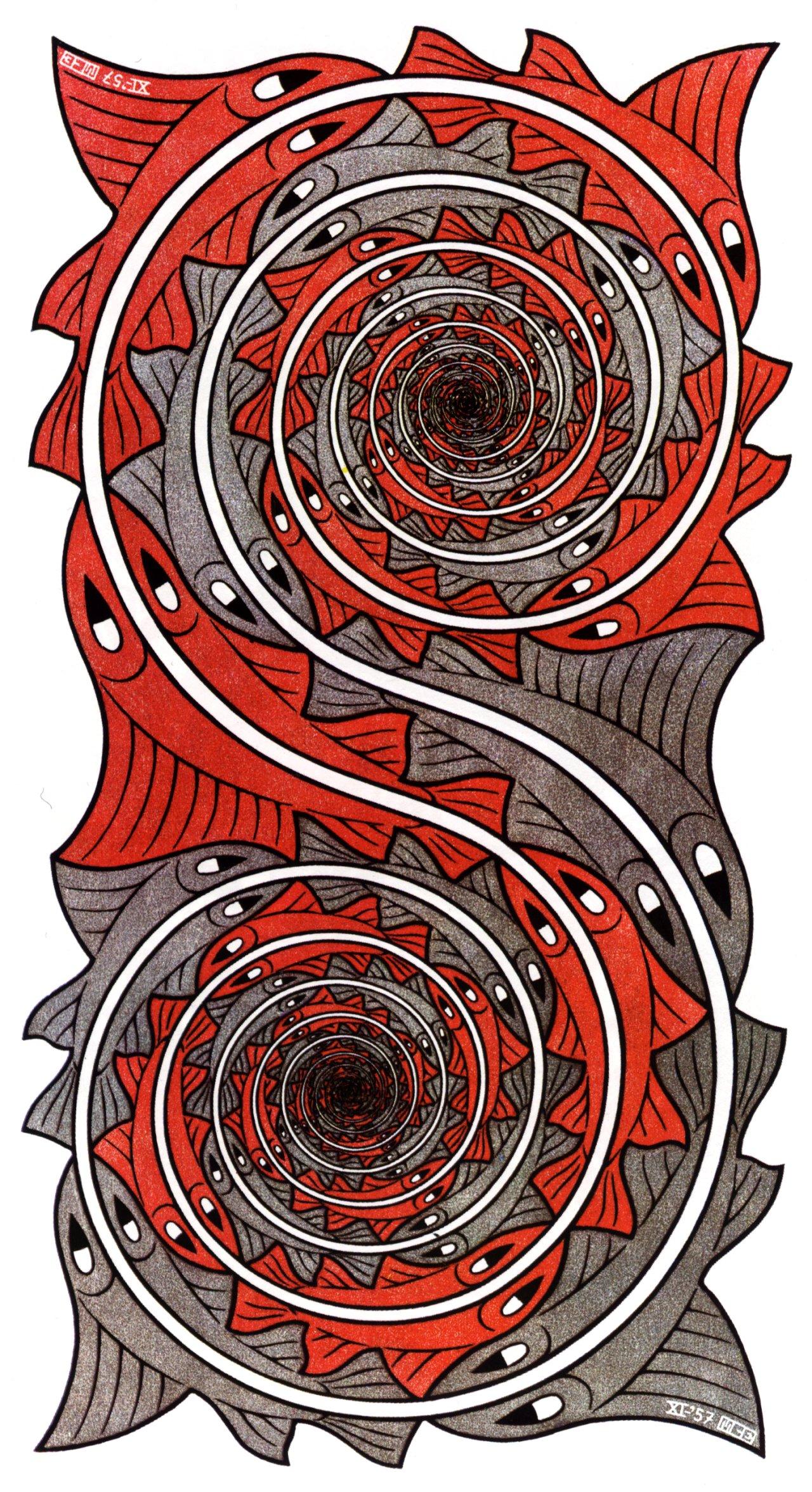 Whirlpools on M C Escher Tessellations