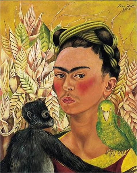 Self Portrait with Monkey and Parrot, 1942 - Frida Kahlo
