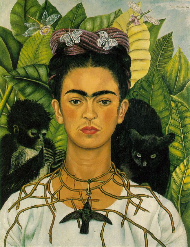 Frida Kahlo - Self portrait with a necklace of thorns