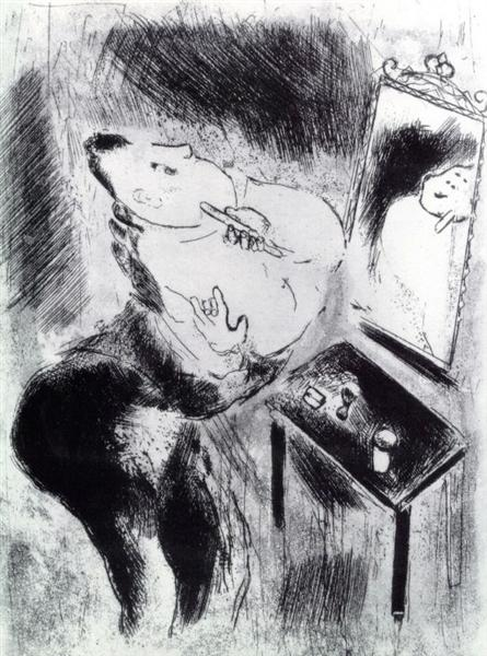 Chichikov shaves, c.1923 - Marc Chagall
