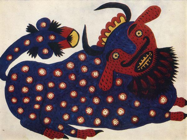Blue Ox, 1947 - Maria Primachenko