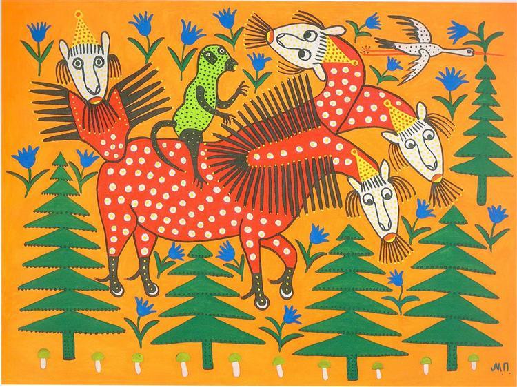 Monkey Riding a Four-Headed Beast, 1982 - Maria Primachenko
