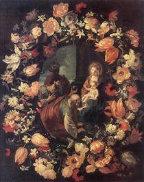 Adoración de los Magos en una guirnalda de flores - Марио Де Фьори