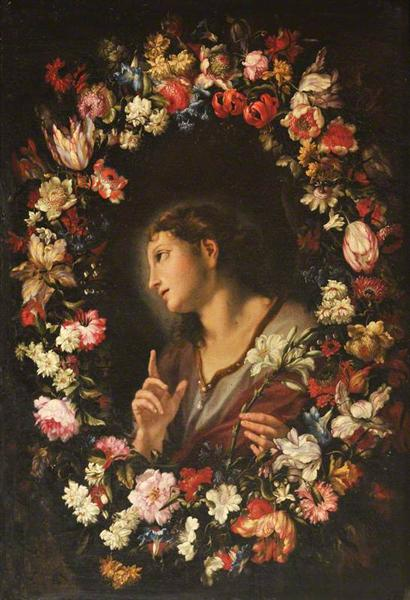The Angel of the Annunciation in a Garland of Flowers - Mario Nuzzi