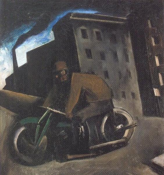The Motorcyclist, c.1920 - Mario Sironi