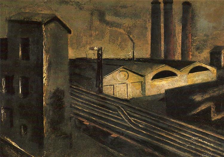 Urban Landscape with Chimneys, 1921 - Mario Sironi