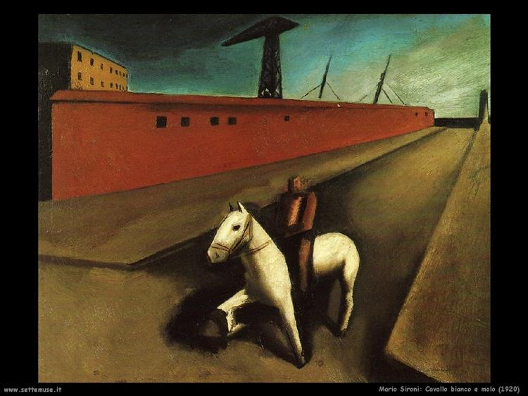 White horse and dock, 1920 - Mario Sironi