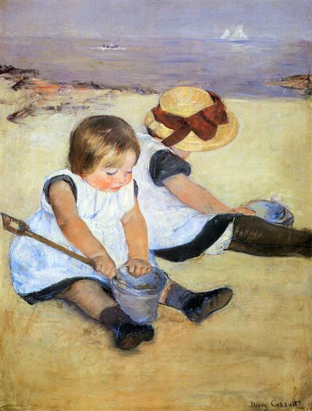 Children Playing On The Beach - Mary Cassatt