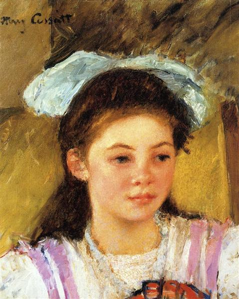Ellen Mary Cassatt with a Large Bow in Her Hair, c.1908 - 1909 - Mary Cassatt