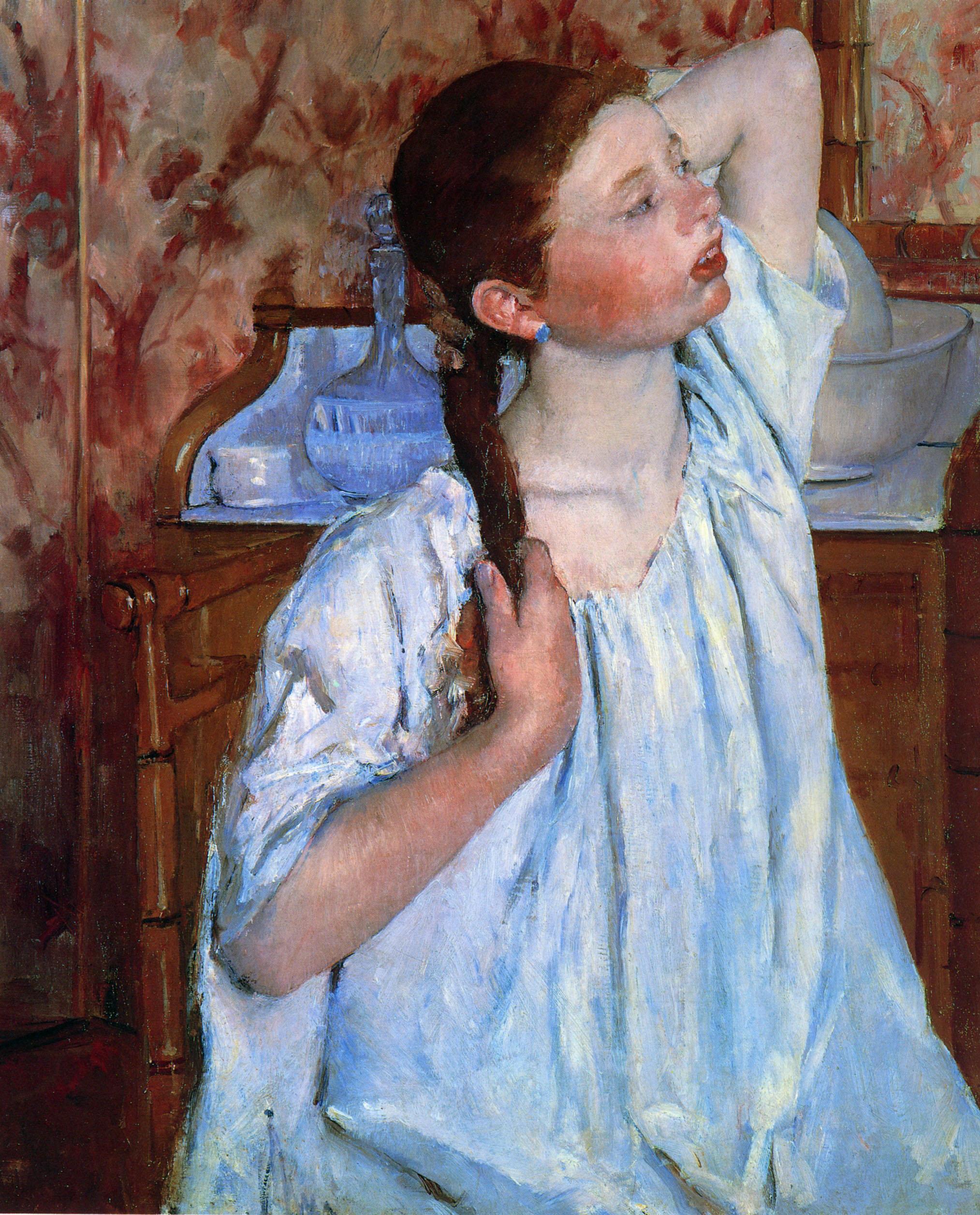 Girl ranging Her Hair, 1886 - Mary Cassatt - WikiArt.org