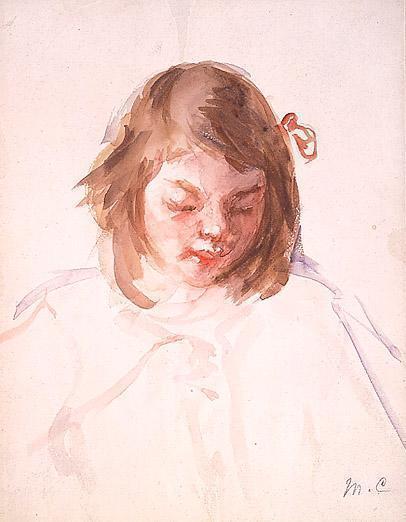 Head of Francoise Looking Down (no.4), c.1908 - Mary Cassatt