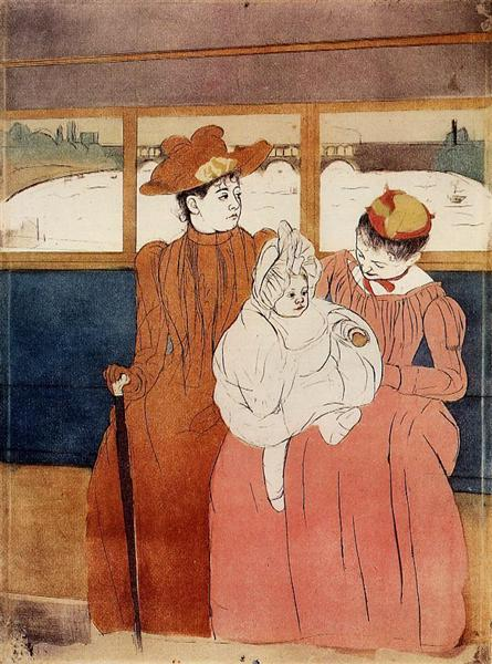 Interior of a Tramway Passing a Bridge, 1890 - 1891 - Mary Cassatt