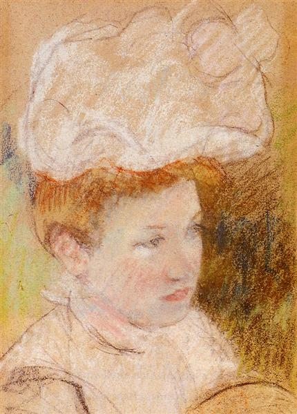 Leontine in a Pink Fluffy Hat - Mary Cassatt