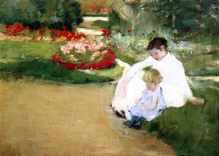 Woman and Child Seated in a Garden, c.1881 - Mary Cassatt