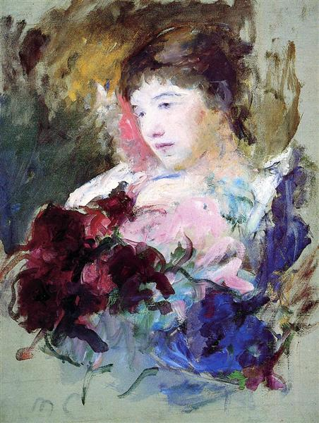 Young Girl Holding a Loose Bouquet, c.1880 - Mary Cassatt