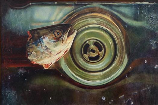 Fish Head in Steel Sink, 1983 - Mary Pratt