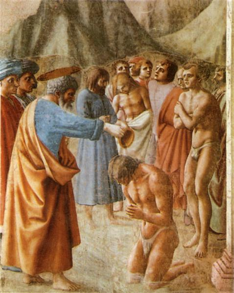Baptism of the Neophytes - Masaccio