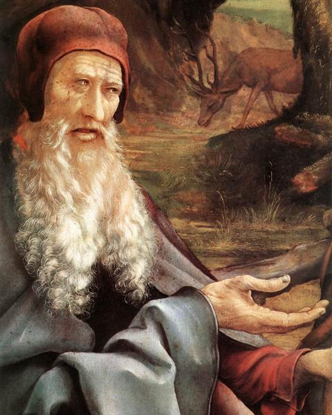 St. Anthony Visiting St .Paul the Hermit in the Desert (detail), 1510 - 1515 - Matthias Grünewald