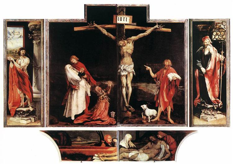 The first view of the altar: St. Sebastian (left), The Crucifixion (central), St. Anthony (right), Entombment (bottom) - Matthias Grünewald