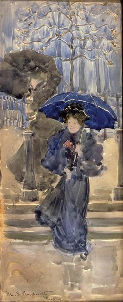 Damas de la lluvia - Maurice Prendergast