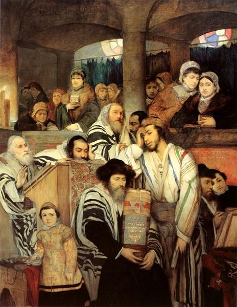 Jews Praying in the Synagogue on Yom Kippur, 1878 - Мауриций Готтлиб
