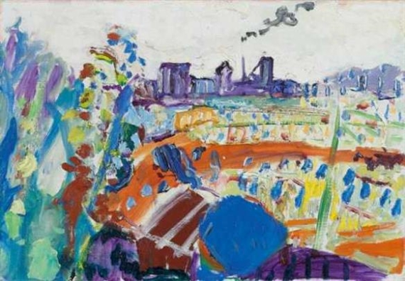 Summer Landscape with Schlieren Gas Works - Max Gubler