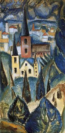 Paesaggio con guglie e alberi della chiesa - Max Weber