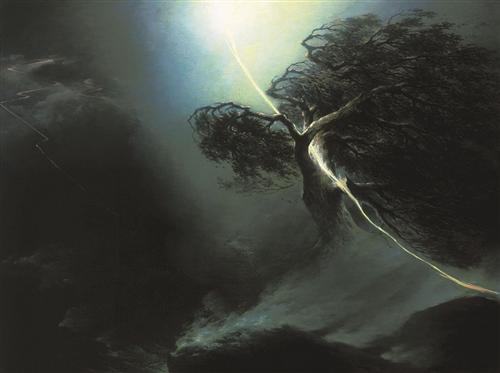 Oak fractured by a lightning. Allegory on the artist's wife death - Maxim Vorobiev