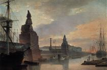 Sphinxes lining a quay in front of St. Petersburg Academy of Arts - Maxim Nikiforowitsch Worobjow