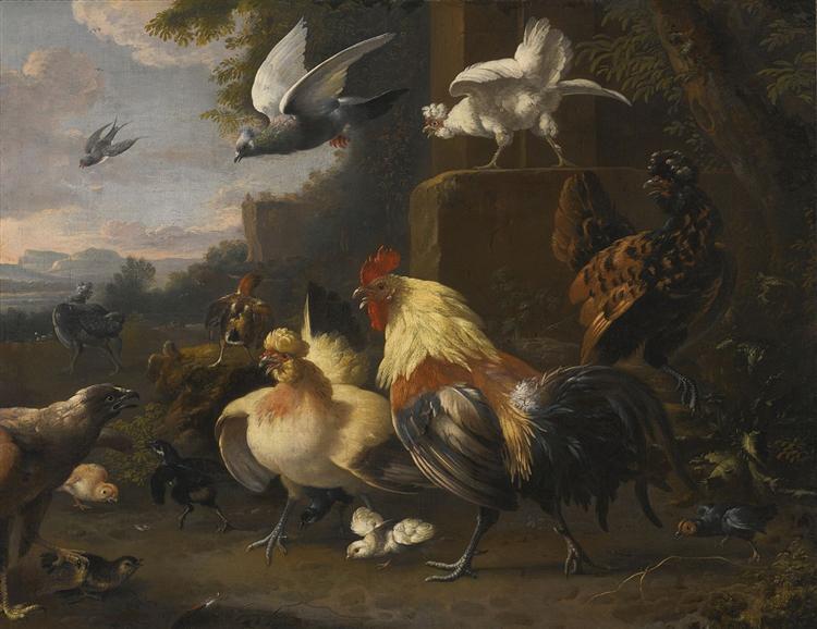 An Eagle, a Cockerell, Hens, a Pigeon in Flight and Other Birds - Melchior d'Hondecoeter