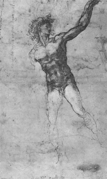"Sketch of a Nude Man (study for the ""Battle of Cascina""), c.1503 - Мікеланджело"