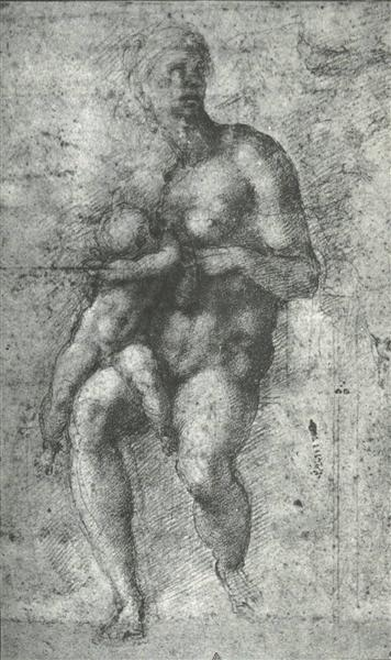"Study for a ""Holy Family with the Infant St.John"", 1534 - Michelangelo"