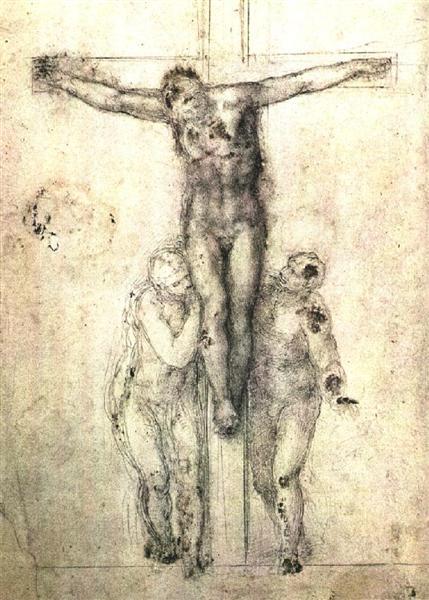 "Study of ""Christ on the Cross between the Virgin and St. John the Evangelist"", 1556 - Michelangelo"