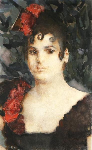 Portrait of a T. Lyubatovich in role of Carmen, 1895 - Mikhail Vrubel