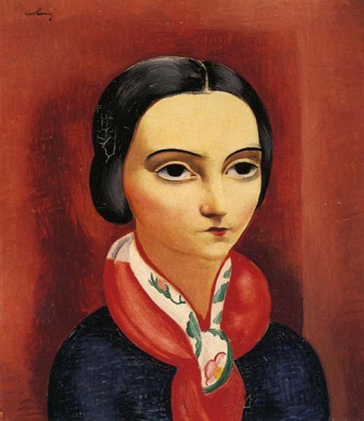 Young brunette woman in headscarf - Moïse Kisling