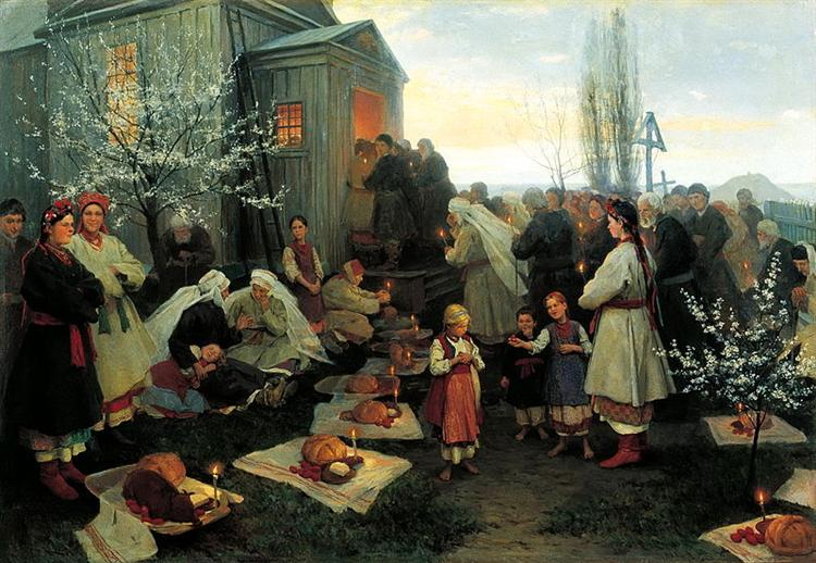 Easter morning prayer in Malorosia - Mykola Pymonenko