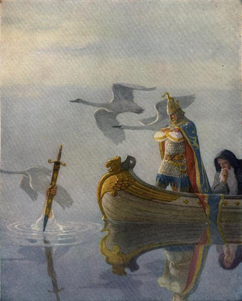And when they came to the sword that the hand held, King Arthur took it up, 1922 - N.C. Wyeth