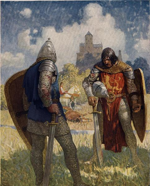 I am Sir Launcelot du Lake, King Ban's son of Benwick, and knight of the Round Table, 1922 - N.C. Wyeth