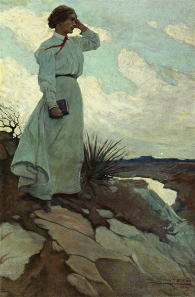 Louise Loved to Climb to the Summit on One of the Barren Hills Flanking the River, and Stand There While the Wind Blew, 1907 - N.C. Wyeth