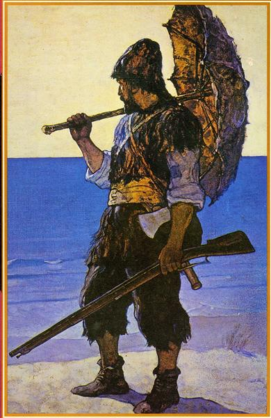 Robinson Crusoe illustration, 1920 - N.C. Wyeth