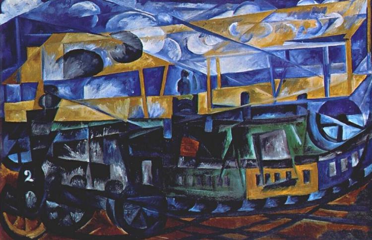 Airplane over train, 1913 - Natalia Goncharova