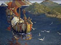 Visitors from over the sea - Nikolai Konstantinovich Roerich