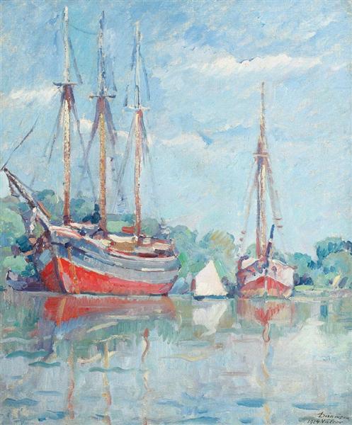 Boats on the Danube (Vâlcov), 1924 - Nicolae Darascu