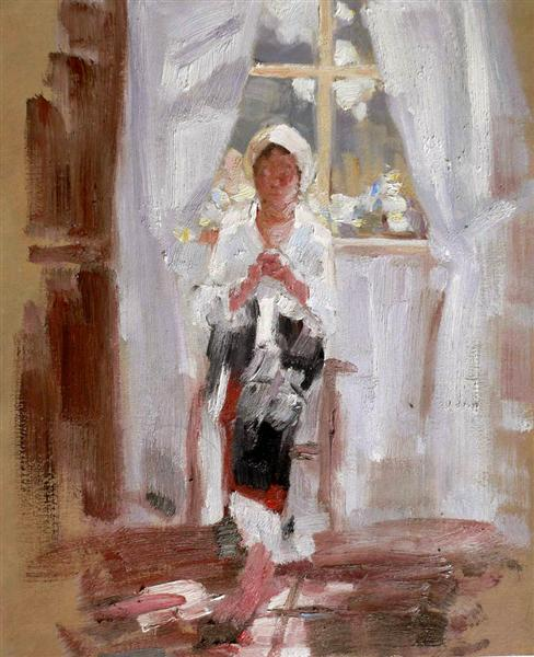 Peasant Sewing by the Window - Nicolae Grigorescu