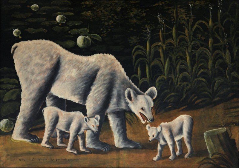 White bear with her cubs (in cornfield), 1917