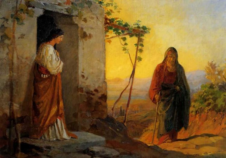 Maria, sister of Lazarus, meets Jesus who is going to their house, 1864 - Nikolai Ge