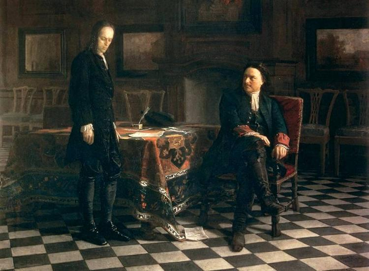 Peter the Great Interrogating the Tsarevich Alexei Petrovich at Peterhof, 1871 - Nikolai Ge